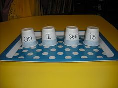 Sprinkles to Kindergarten!: Where's the Bear? Ask students to read the word on the cup for sight word practice.