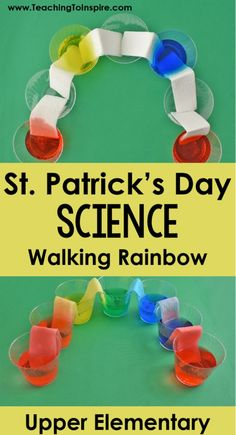The Walking Rainbow demonstration is a perfect St. Patrick's Day science act… The Walking Rainbow demonstration is a perfect St. Kid Science, Preschool Science, Science Experiments, Science Centers, Preschool Colors, Summer Science, Science Crafts, Science Chemistry, Physical Science