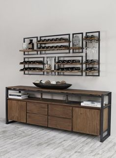 Vintage Industrial Decor SHELFMATE WINERACKS by d-Bodhi comes in 5 different sizes that can be uniquely paired to your preference. Check out this combination sitting perfectly above d-Bodhi's dresser from the Fendy collection. Steel Furniture, Kitchen Furniture, Diy Furniture, Kitchen Decor, Furniture Design, Furniture Stores, Furniture Online, Kitchen Ideas, Furniture Outlet