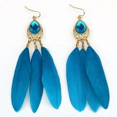 2.75$  Buy now - http://di1uq.justgood.pw/go.php?t=199117603 - Waterdrop Faux Crystal Feather Statement Drop Earrings