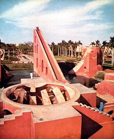 This is the Samrat Yantra, the largest sundial in the world (90 feet high), it can be used to tell the time to an accuracy of about two seconds in Jaipur local time.