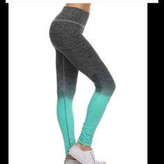 "Mint and Grey Leggings. These fabulous leggings are so cute and sporty. Perfect for the gym, or running around town. Breathable 4 way stretch for ease of movement. Comfort waist. 88% nylon, 12% spandex. Natural moisture wicking. Super well made, and will be your favorite leggings. Available in S/M. Fits sizes 0-6. Waist 24"", hips 35"", inseam 25"". Comes to you in its original sealed packaging with tags attached. Mint Leggings Pants Leggings"