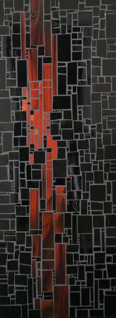 Abstract geometric red and black mosaic