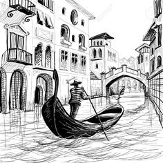 Drawings Ideas East Urban Home Sketchy Gondola in Venice European Famous Canal History Mediterranean Holiday ImageGraphic Print Pencil Art Drawings, Drawing Sketches, City Drawing, Drawing Drawing, Gondola Venice, Venice Italy, Venice Canals, Venice Beach, Landscape Drawings