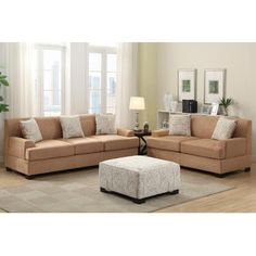Hollywood Decor Narvik 2 Pieces Living Room Set in Microsuede with matching Ottoman & Pillows