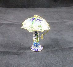 Cloisonne Dragonfly Umbrella Mushroom Ornament Blue Green & Gold 3 1/2 Inches