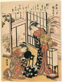 Torii Kiyonaga   Title:A Mirror on a Stand Suggesting the Autumnal Moon (Kyodai no shugetsu) from the series Eight Scenes in the Boudoir (Zahiki hakkei)   Date:c. 1777