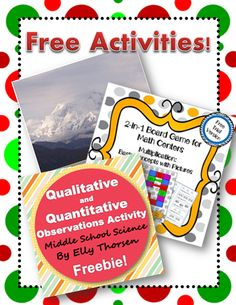 Three FREE teaching activities -One for middle school science -One for middle school social studies -One for elementary math