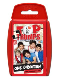 Top Trumps - One Direction 1D    From humble beginnings on the X Factor to the world's biggest pop band, One Direction now have their own pack of Top Trumps – safe to say they've REALLY arrived! This pack takes you through the journey of Niall, Zayn, Liam, Louis and Harry from their formation to the multi-award winning boy band that they are today, with facts, stats and photos of all their greatest moments…