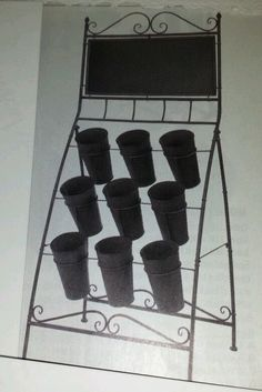 Folding Floral Stand W/ Chalkboard 9 vases Grey New Flower Holder Display Rack