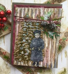 MIX389 A Winter's Past Mixed Media Cards, Gel Medium, Distress Ink, My Stamp, Petunias, White Paints, Twine, Vintage Photos, Past