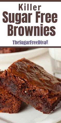 These Killer Sugar Free Brownies are amazing! This is a simple recipe to make and is the perfect sugar free dessert! These Killer Sugar Free Brownies are amazing! This is a simple recipe to make and is the perfect sugar free dessert! Sugar Free Deserts, Low Sugar Desserts, Sugar Free Sweets, No Sugar Foods, Low Carb Desserts, Healthy Desserts, Delicious Desserts, Sugar Sugar, Sugar Free Muffins