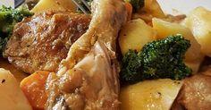 Fabulosa receta para Estofado de pollo con patatas y verduras.