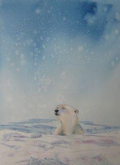 Polar bear watercolor. Polar bear painting by CecileRancourtArt