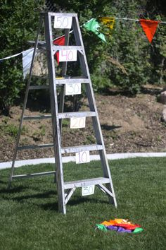 Bean bag ladder toss ~ diy carnival game idea ~ 32 Of The Best DIY Backyard Games You Will Ever Play Diy Carnival Games, Kids Carnival, Carnival Ideas, Carnival Birthday, Backyard Carnival, School Carnival, Carnival Activities, Spring Carnival, Church Carnival Games
