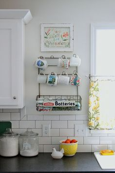 Vintage cup holder. Flower Patch Farmgirl: Our Kitchen - The Debut