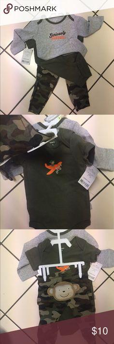 "3piece set Cami pant, long sleeve & short sleeve Soooooo cute- long sleeve Onsie "" Seriously Adorable"" gray and army green! Short sleeve army green tee and CAMI pants!👍🏼😎😇😇 Carter's Matching Sets"