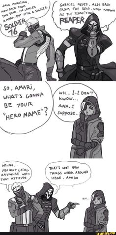 """No Ana you gotta have a cool name like death metal gun of death"" ""Reyes no"" ""Reyes yes"""
