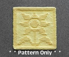 SUNFLOWER Knit Dishcloth Pattern - PDF Instant Download - Knit Wash Cloth Pattern - Knitted Dishcloth Pattern ~ Easy Knit Patterns