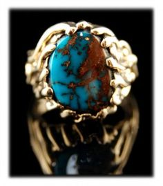 Bisbee Turquoise Mens Ring in Gold