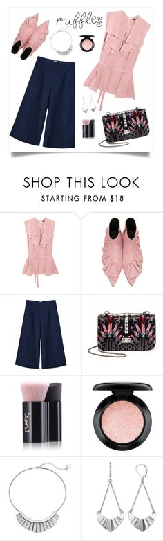 """""""chic in ruffles"""" by clairsnotebook ❤ liked on Polyvore featuring Etro, J.W. Anderson, KJ's Laundry, Valentino, Yves Saint Laurent, MAC Cosmetics and Simply Vera"""