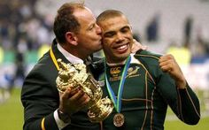 South Africa coach Jake White plants a kiss on Bryan Habana after they beaten England in the 2007 Rugby World Cup final in Paris. White Plants, World Cup Final, Rugby World Cup, South Africa, Kiss, Bomber Jacket, England, African, Fan