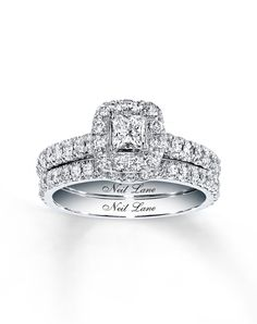This is the one!!!   Diamond Bridal Set 1ctw Princess 14k White Gold by Neil Lane // More from Neil Lane: http://www.theknot.com/gallery/wedding-rings/Neil Lane