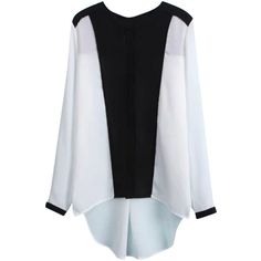 Blackfive Asymmetric Two Tone Seamed Md-long Chiffon Blouse (68 BRL) ❤ liked on Polyvore featuring tops, blouses, blackfive, white, chiffon blouse, long chiffon blouse, long loose tops, long loose blouse and loose blouse