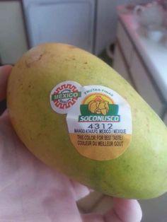 This mango that has a sticker that tells you the optimum colour for taste.