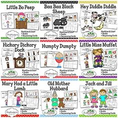 Bundle of all of my illustrated nursery rhyme books and sequencing cards. Includes both color & blackline! 10 nursery rhymes included.