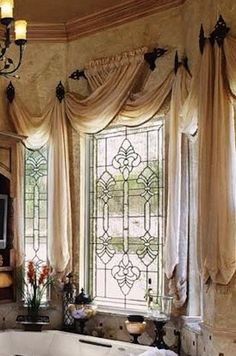 Such a soft yet sophisticated treatment. Can translate into so many design styles based on the rod and fabric selections. Kitchen Window Treatments, Custom Window Treatments, Drapery Designs, Curtains With Blinds, Valances, Beautiful Curtains, Luxury Homes Interior, Window Design, Window Coverings