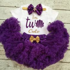 Perfect little outfit for your little mermaid . Makes a great BabyShower gift/Birthday gift/CakeSmash /PhotoProp  3pc set includes 1.Sparkle Seashell Im Two cute design onesie/Tshirt Name can be added 2.Premium fluffy Purple Pettiskirt with golden bow 3.Bow/headband Please allow 2-3 weeks for completion and delivery of your custom order, however if you need it sooner, please convo me, and in most cases I can accommodate rush orders.  Like BabyTrendzz on Facebook for coupons , Deals and more…