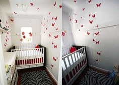 Baby small bedroom white red and black
