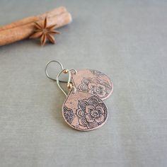 Copper earrings, metalwork jewelry, floral, peony,  folk jewelry, boho earrings, ethnic jewelry, etched metal earrings