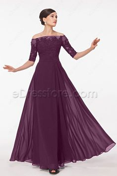 The eggplant mother of the bride dress features off the shoulder neckline, lace appliques decorated bodice is sewn with beads and sequins, 1/2 sleeves, pleated waist continued with floor length A line skirt.