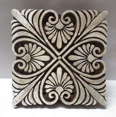 INDIAN WOODEN HAND CARVED TEXTILE PRINTING FABRIC BLOCK STAMP UNIQUE BOLD DESIGN