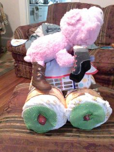 Diaper cake side view