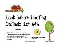 Look Whos Hooting Ordinal Numbers 1st 6th