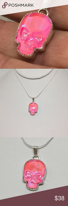 """18x14mm Pendant Necklace Handcrafted Setting NEW!! This is a handcrafted 925 sterling setting made by me in my studio. The pendant is made with a Swarovski Crystal in the new ultra pink color.  A pricier crystal, but worth the beauty. Included is an 18"""" 925 sterling chain. designsbysteve Jewelry Necklaces"""