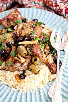 Moroccan Chicken with Olives and Preserved Lemons.