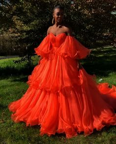 This dress is Made-To-Order,Ball Gown Orange Prom Dresses Off the Shoulder Evening Dresses with Ruffles. Couture Dresses, Fashion Dresses, Robes Disney, Orange Prom Dresses, Orange Gown, Puffy Dresses, Black And Orange Dress, Pretty Dresses, Elegant Dresses
