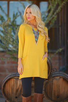 """Cute As A Button Tunic - Mustard from Closet Candy Boutique Use code """"repjennifer"""" for 10% off and FREE shipping!"""