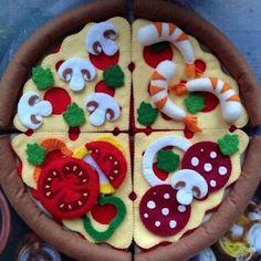Basteln mit Kindern Pizza-craft mold with felt Pizza-craft mold with f Felt Diy, Felt Crafts, Pizza Craft, Diy For Kids, Crafts For Kids, Felt Food Patterns, Doll Patterns, Felt Cake, Felt Cupcakes