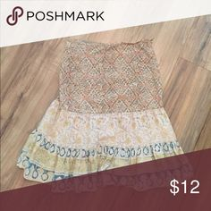 """Lucky Brand Boho Vintage skirt. Very unique! Multi pattern. 100% cotton. Great condition! 23.5"""" long Lucky Brand Skirts"""