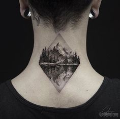 Mountain range tattoo by Clean Lines