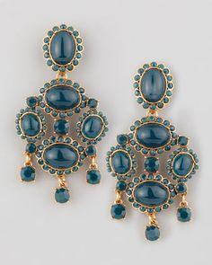 Oscar de la Renta Cabochon Drop Clip Earrings, Green - Bergdorf Goodman