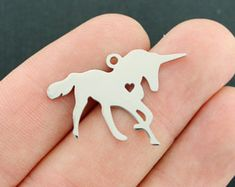 Unicorn Charm Stainless Steel Pendant or Stamping Tag 2 Sided - MT686 NEW5