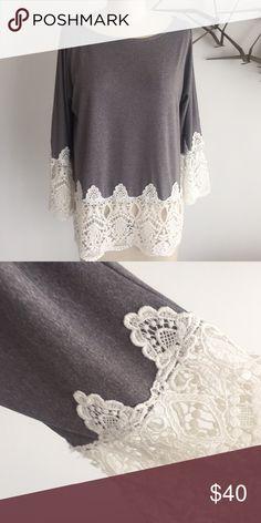 Karen Zambos lace tunic Karen Zambos heather grey lace tunic. 3/4 sleeve. NWT Karen Zambos Tops Tunics