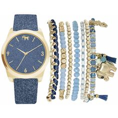 Mixit Womens Blue 9-pc. Watch Boxed Set-Jc2155g569-032 (1,175 DOP) ❤ liked on Polyvore featuring jewelry, watches, mixit, blue watches, mixit jewelry, blue wrist watch and blue jewelry
