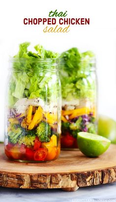 A round-up of Healthy Mason Jar Salad Recipes. Tons of ideas for you to pack for your work lunch, including Thai, burrito bowl and cobb salad versions!